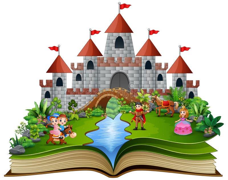 Livre d'histoire avec des princesses de bande dessinée et des princes devant un château illustration de vecteur