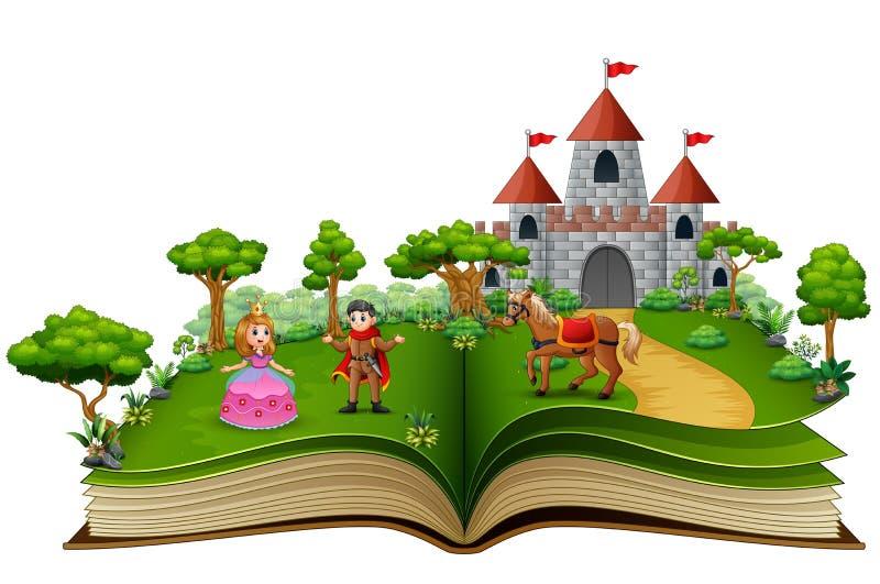 Livre d'histoire des princes et des princesses dans la cour royale illustration de vecteur