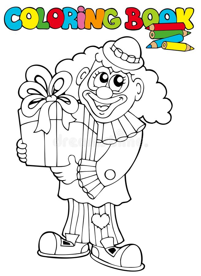 Livre de coloration avec le clown et le cadeau illustration libre de droits