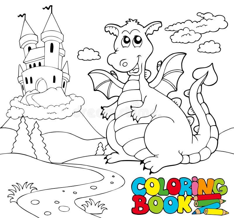 Livre de coloration avec le grand dragon 2 illustration de vecteur