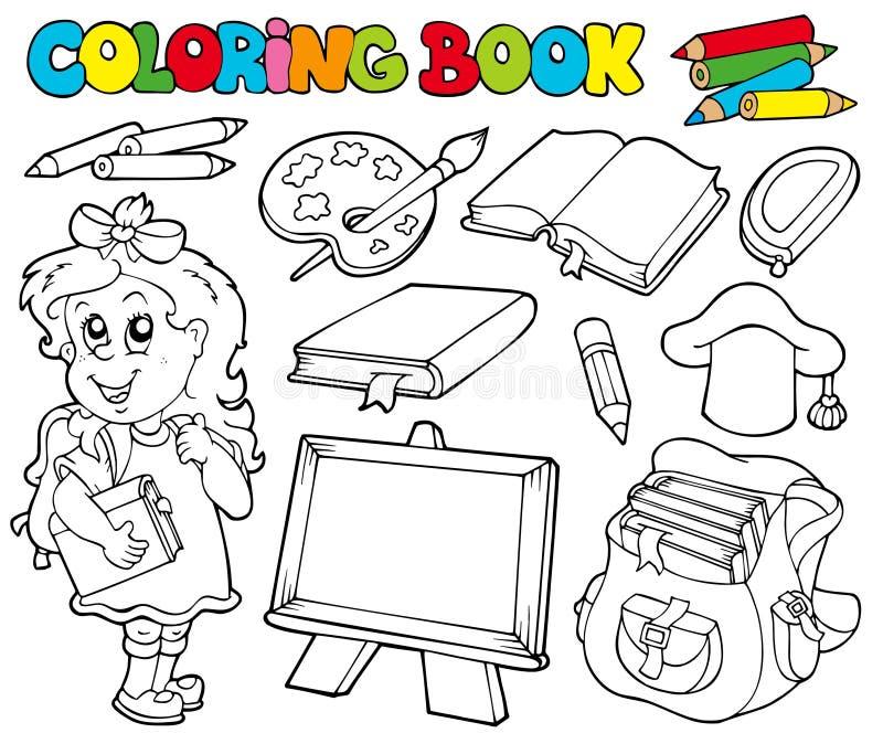 Livre de coloration avec le thème 1 d'école illustration libre de droits