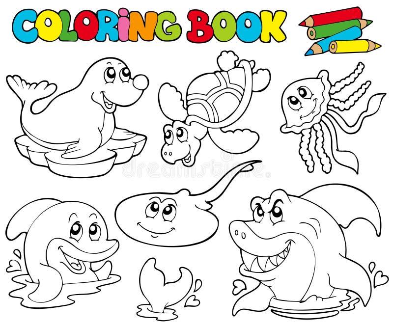Livre de coloration avec les animaux marins 1 illustration de vecteur