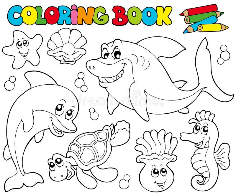 Livre de coloration avec les animaux marins 2 illustration de vecteur