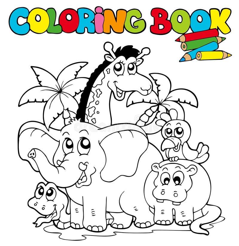 Livre de coloration avec les animaux mignons 1 illustration stock