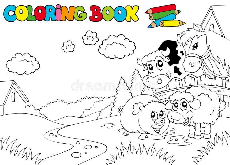 Livre de coloration avec les animaux mignons 3 illustration stock