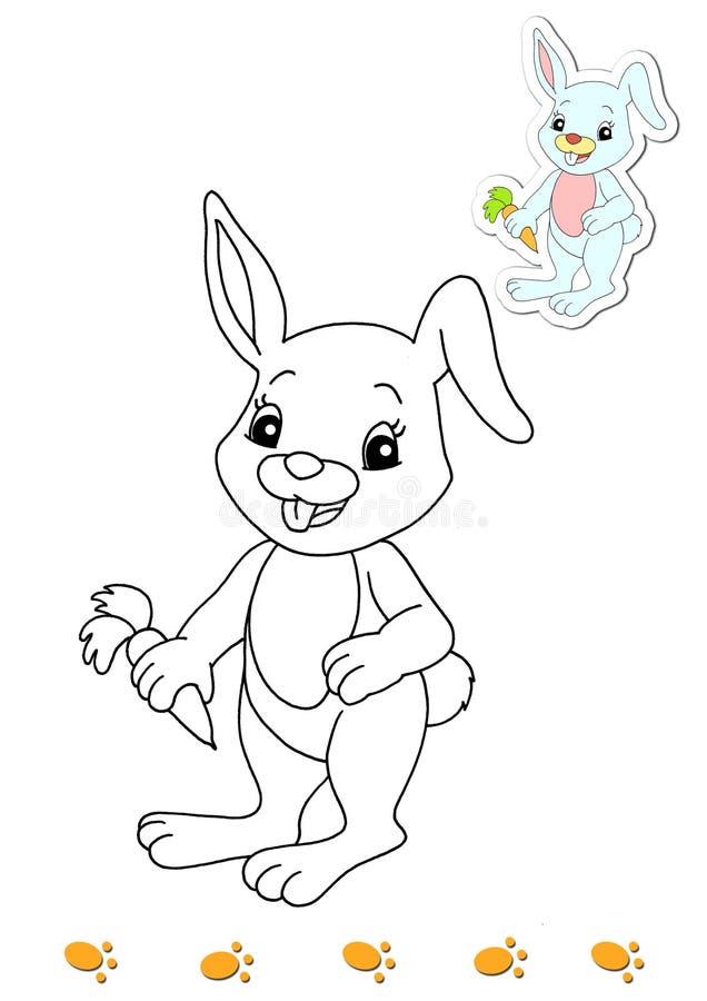 Livre de coloration des animaux 13 - lapin illustration libre de droits