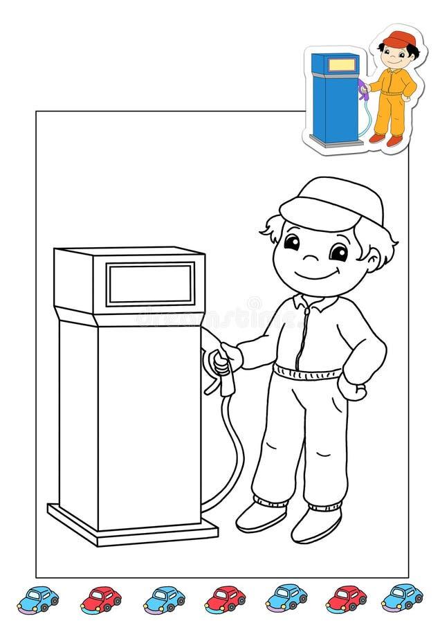 Livre de coloration des travaux 38 - la station service sont présentes illustration stock