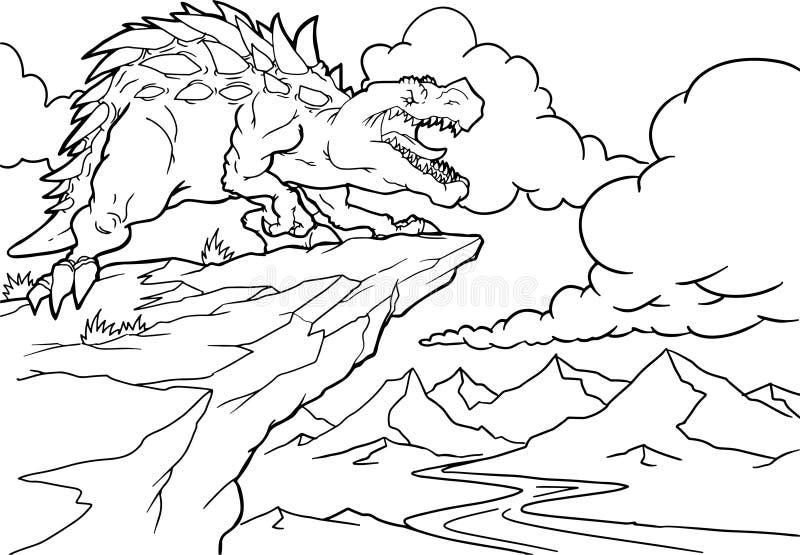 Livre de coloration Dinosaure dr?le dans un paysage pr?historique Caract?re d'isolement par bande dessin?e sur le fond illustration stock