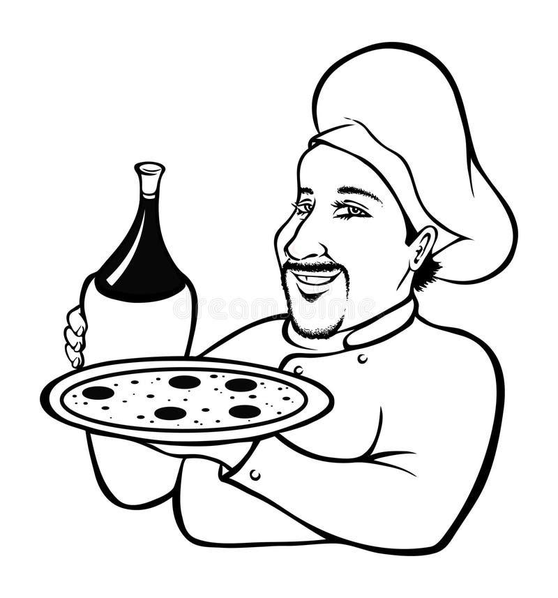 Livre de coloration italien de chef illustration stock