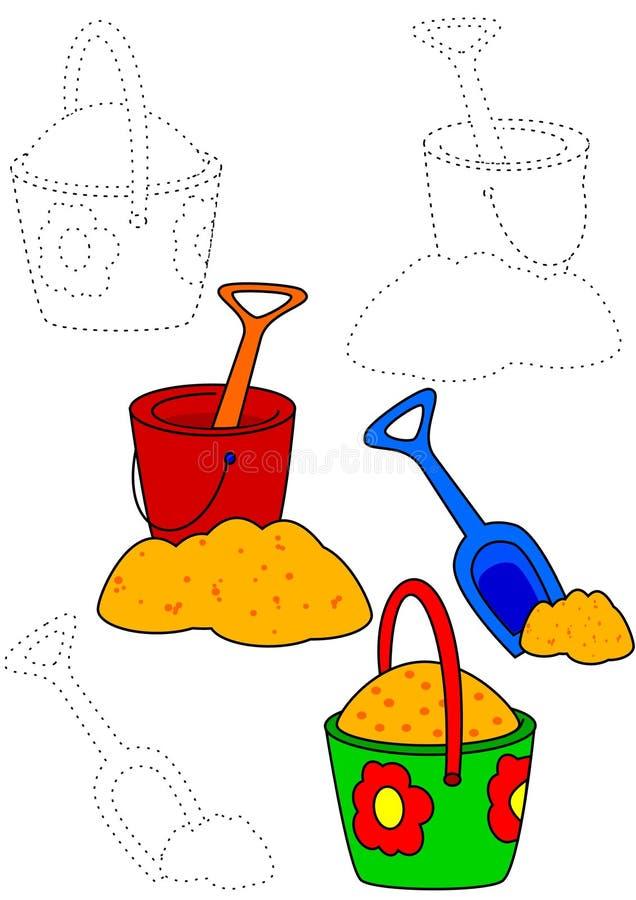 Livre de coloration - jouets de sable illustration de vecteur