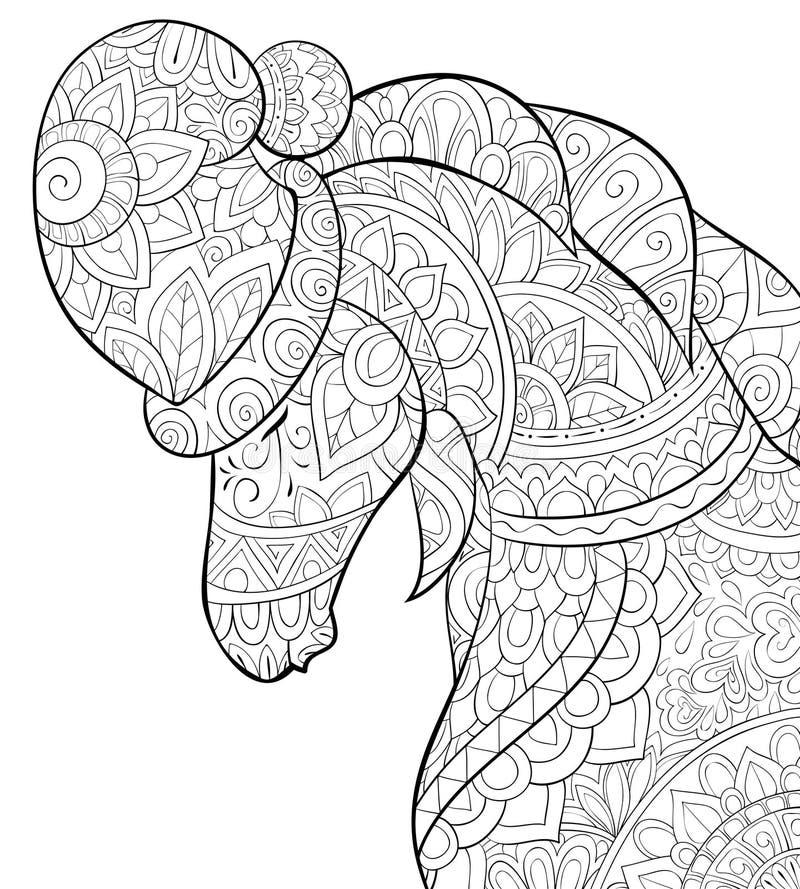 Livre de coloriage adulte, page un cheval mignon utilisant un chapeau im de Noël illustration libre de droits