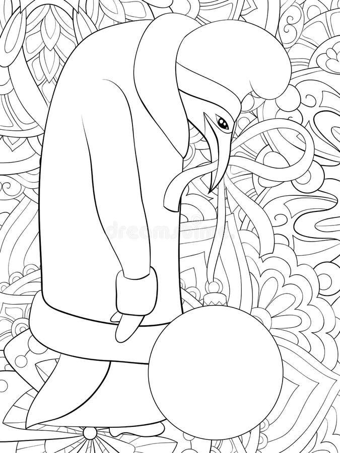 Livre de coloriage adulte, page un pingouin mignon de bande dessinée avec le chapeau de Noël sur le fond d'image abstrait pour la illustration libre de droits