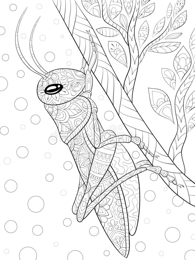 Livre de coloriage adulte, page une image mignonne de sauterelle pour la détente Illustration de style d'art de zen pour la copie illustration stock
