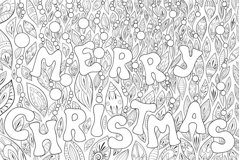 Livre de coloriage adulte, paginent des images d'un thème de Noël avec des ornements de décoration pour la détente Zentangle illustration stock