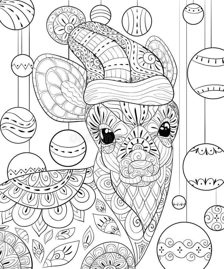 Livre de coloriage adulte, paginent un cerf commun mignon avec le chapeau de Noël, illustration de style d'art de zen illustration stock