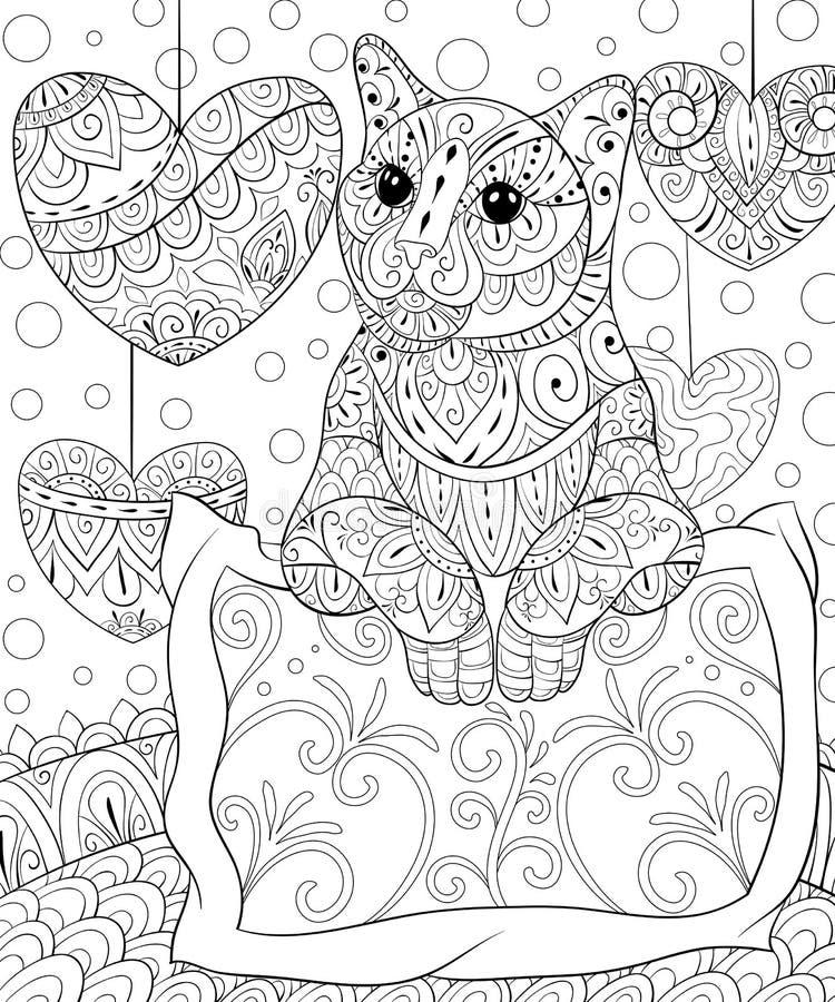 Livre de coloriage adulte, paginent un chat mignon avec un oreiller sur le fond avec des coeurs pour la détente Illustration de s illustration libre de droits