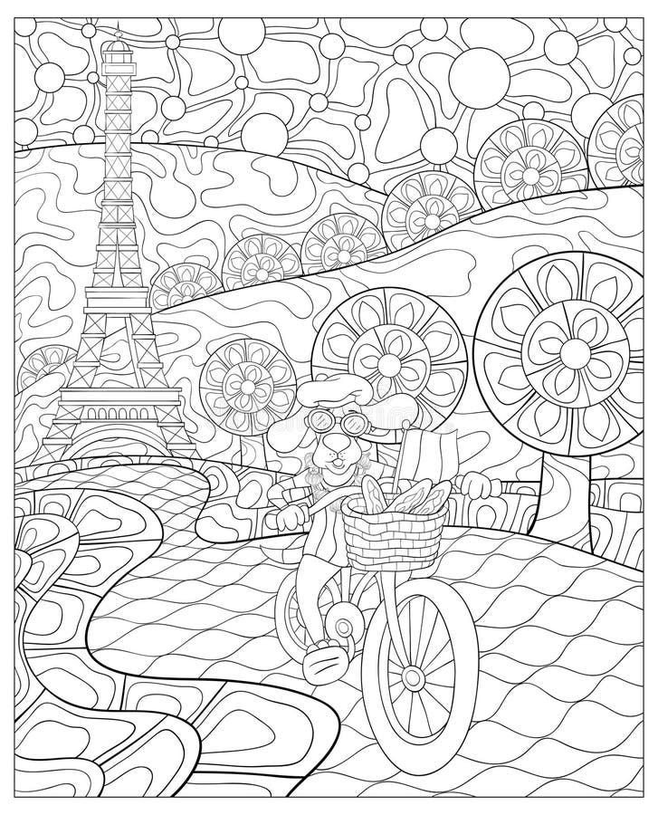 Livre de coloriage adulte, paginent un chien mignon montant un vélo sur le paysage abstrait illustration libre de droits