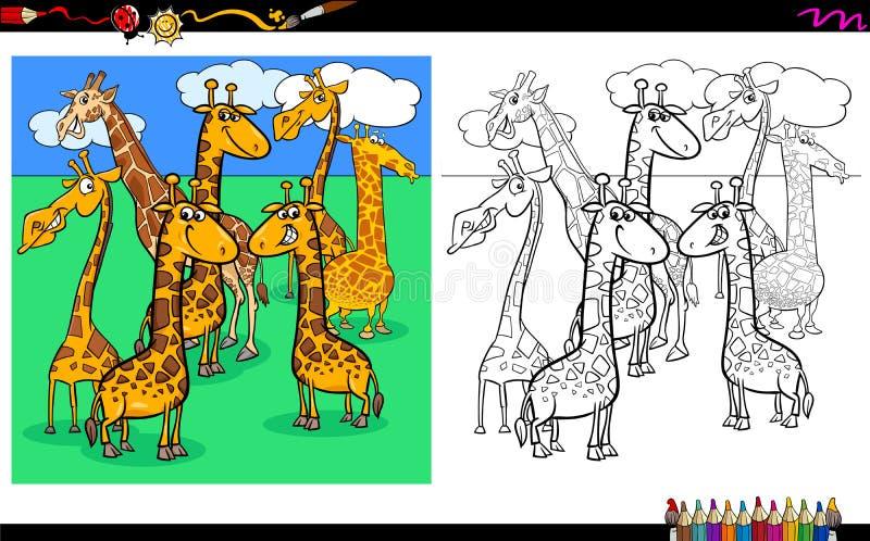 Livre de coloriage animal de caractères de girafes illustration stock