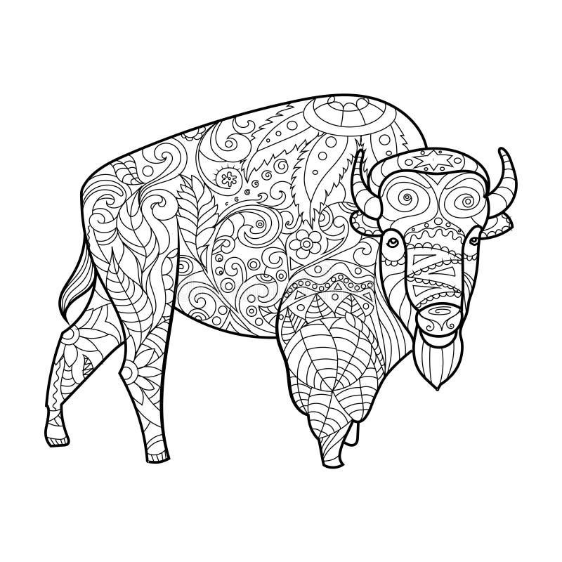 Livre de coloriage animal de bison pour le vecteur d'adultes illustration de vecteur
