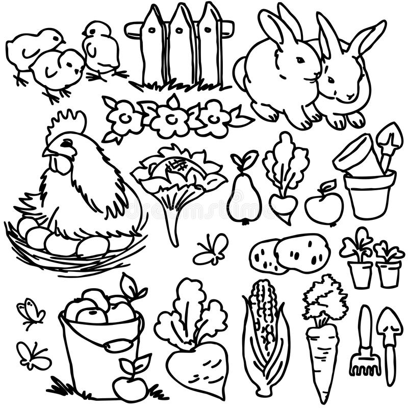 Livre de coloriage, animaux de ferme de bande dessinée illustration stock