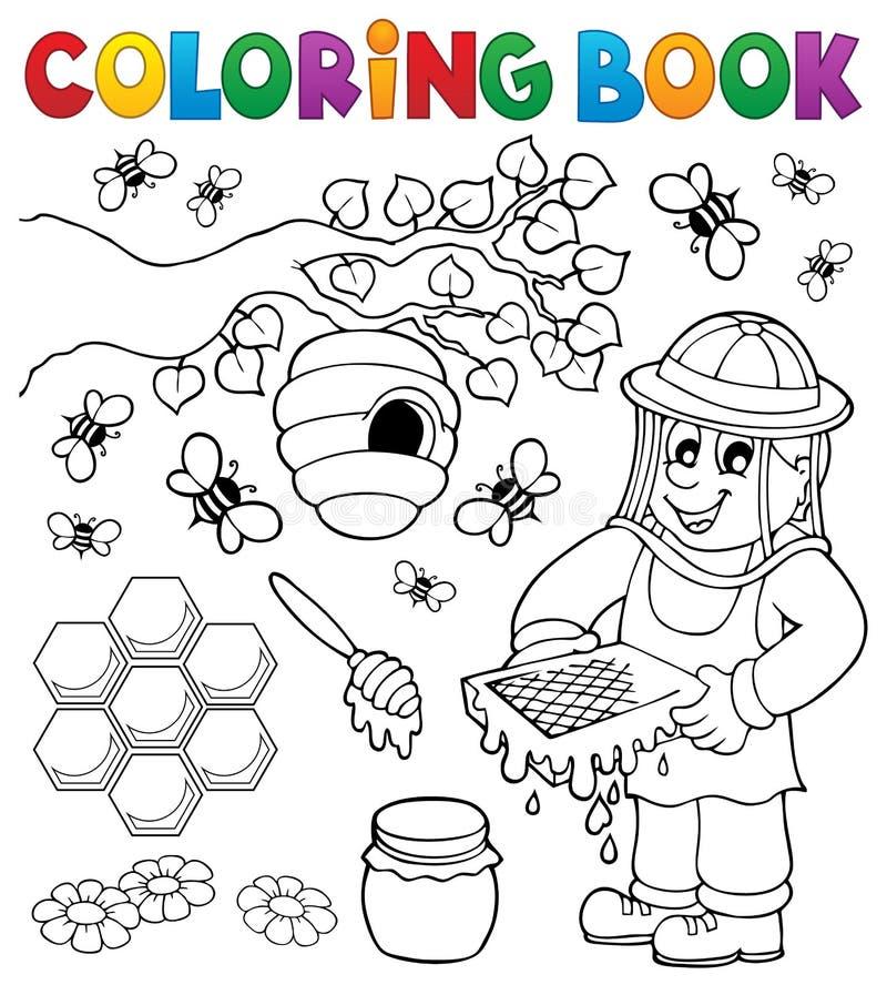 Livre de coloriage avec l'apiculteur illustration stock