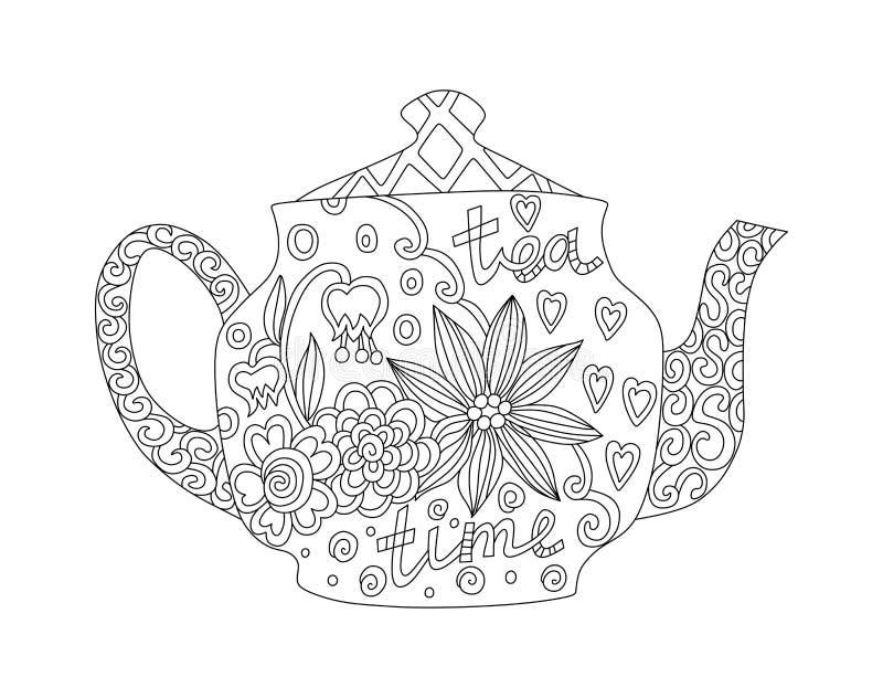 Livre de coloriage avec la belle théière avec l'ornement floral Illustration noire et blanche illustration libre de droits