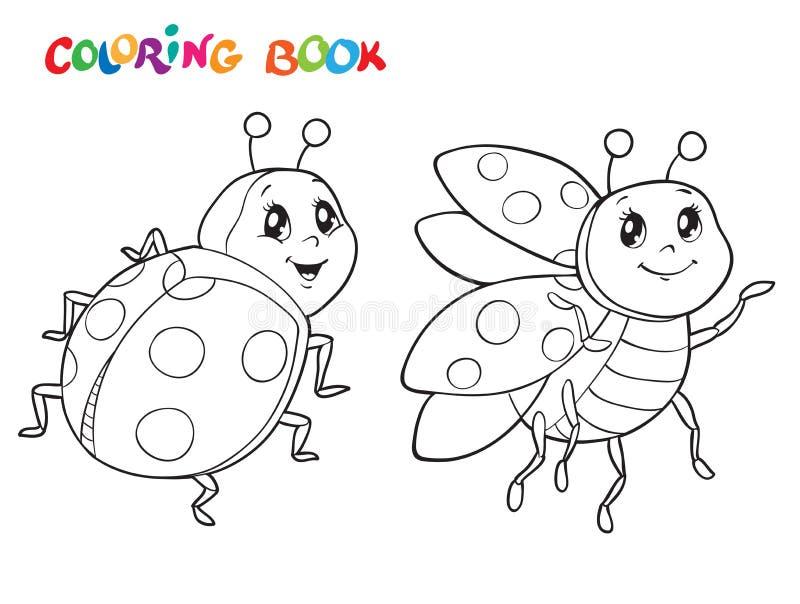 Livre de coloriage avec la coccinelle Illustration de vecteur D'isolement sur le blanc illustration de vecteur