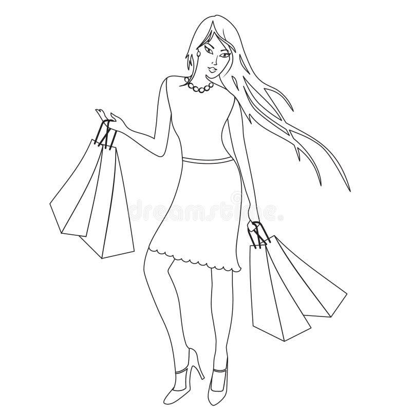 Livre de coloriage avec la fille d'achats, découpe illustration libre de droits
