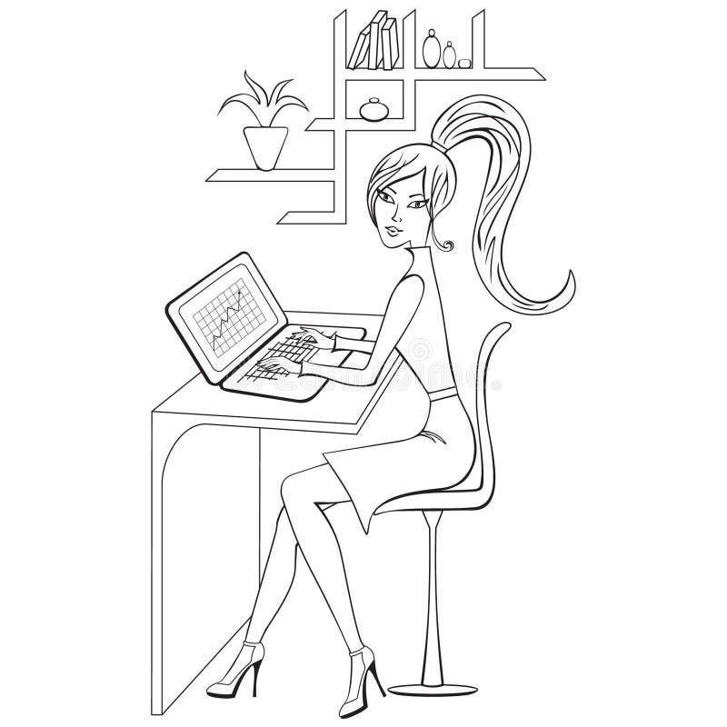 Livre de coloriage avec la fille travaillant sur son ordinateur portable, découpe illustration de vecteur