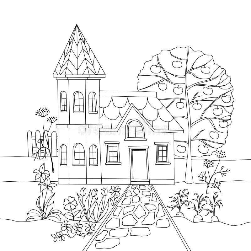 Livre de coloriage avec la maison de campagne dans le jardin Illustration de vecteur illustration de vecteur