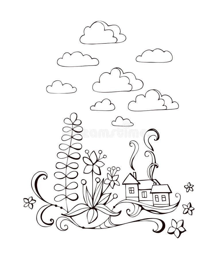 Livre de coloriage avec la maison et les fleurs féeriques Illustration noire et blanche de vecteur illustration stock