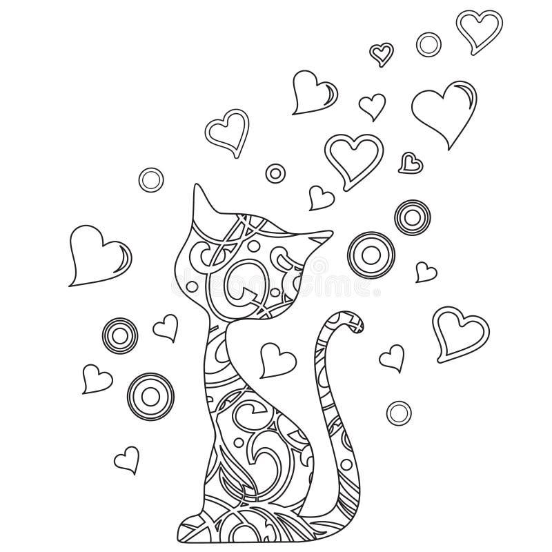 Livre de coloriage avec le chat et les coeurs illustration de vecteur