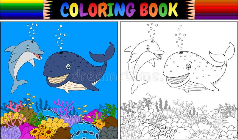 Livre de coloriage avec le dauphin et la baleine de bande dessinée illustration stock