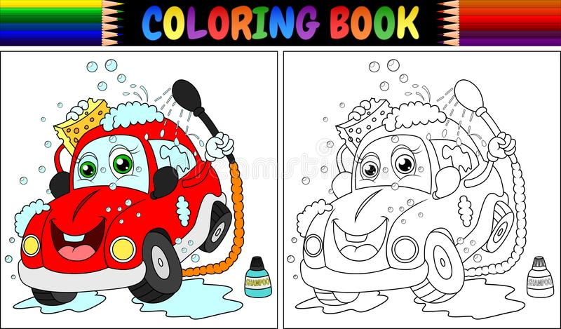 Livre de coloriage avec le lavage rouge de voiture de bande dessinée illustration libre de droits