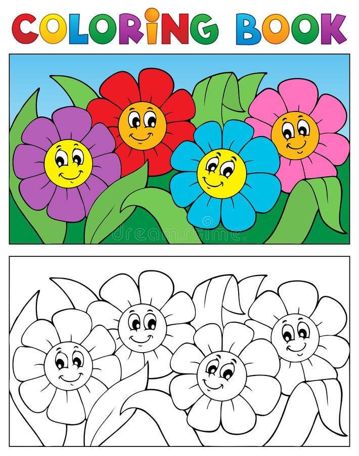 Livre de coloriage avec le thème 1 de fleur illustration de vecteur