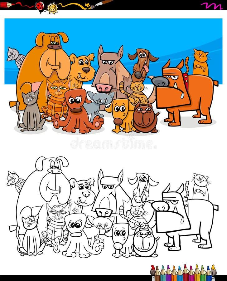 Livre de coloriage de caractères de chats et de chiens illustration stock