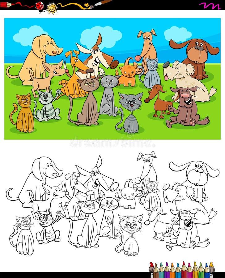 Livre de coloriage de caractères de chiens et de chats illustration stock