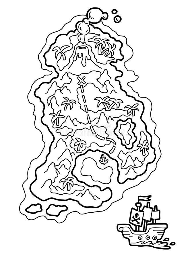 Livre de coloriage, carte de pirate avec une île tropicale illustration libre de droits