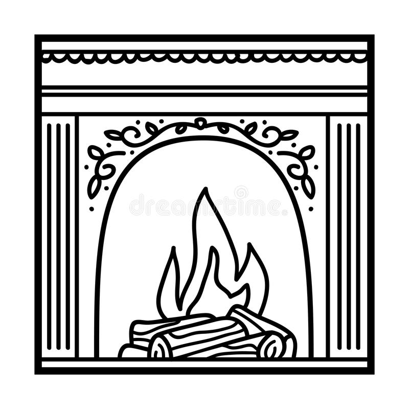 Livre de coloriage, cheminée illustration stock