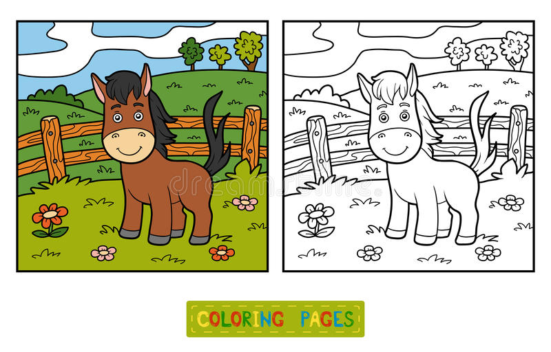Livre de coloriage (cheval et fond) illustration stock