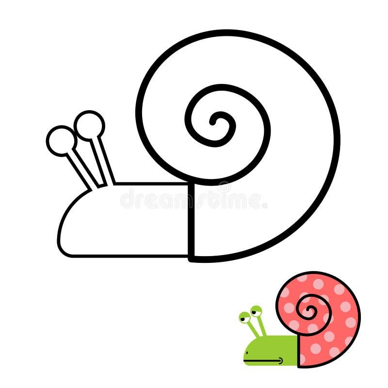 Livre de coloriage d'escargot Palourde de gastéropodes avec la coquille en spirale Vecteur i illustration stock