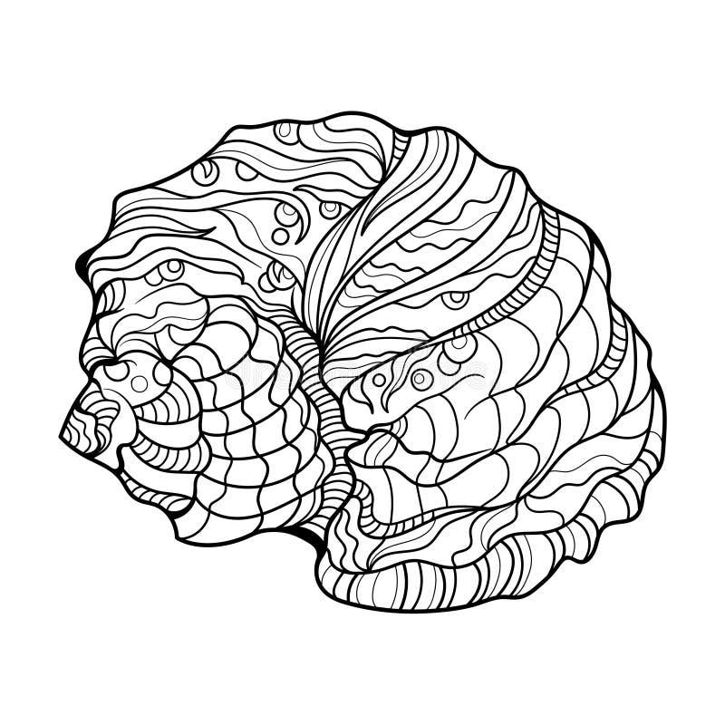 Livre de coloriage d'hélice de Shell pour le vecteur d'adultes illustration libre de droits