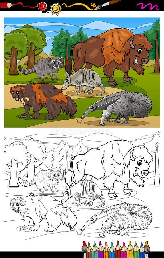 Livre de coloriage de bande dessinée d'animaux de mammifères illustration libre de droits