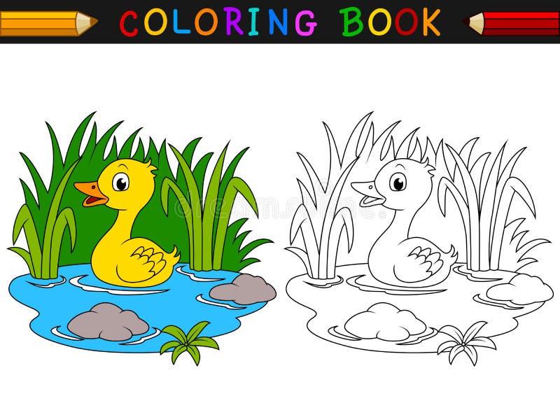 Livre de coloriage de canard de bande dessinée illustration stock