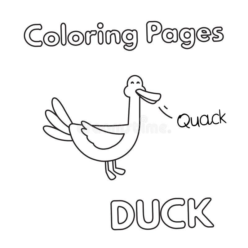 Livre de coloriage de canard de bande dessinée illustration de vecteur