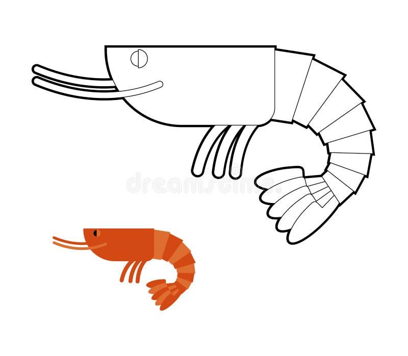 Livre de coloriage de crevette Petit cancroïde marin Plancton d'océan illustration libre de droits