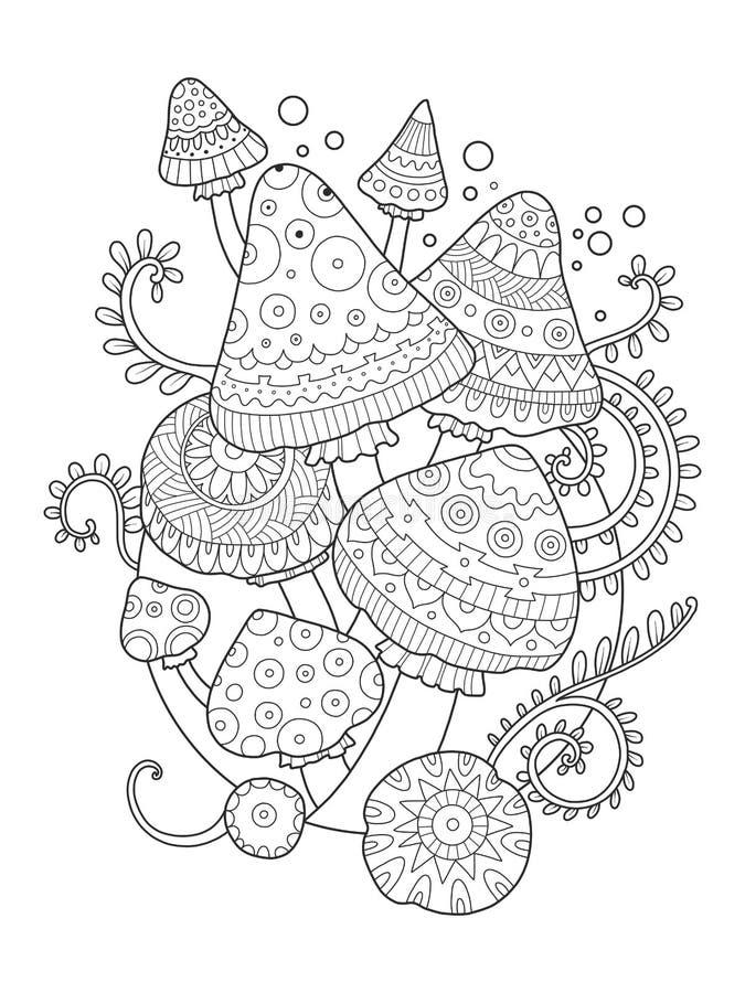 download livre de coloriage de dessin de vecteur de champignon pour des adultes illustration de vecteur - Dessin Pour Adultes