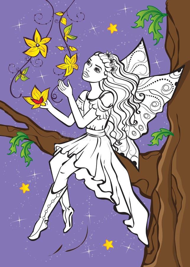 Livre de coloriage de fée Elf se reposant sur la branche illustration de vecteur