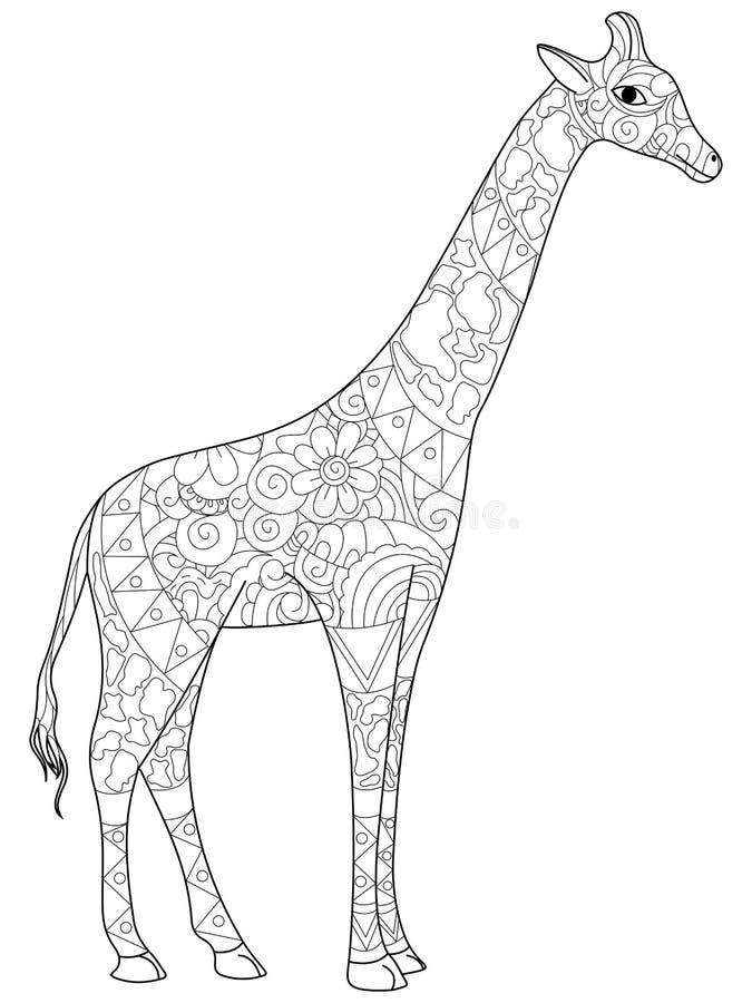 Livre de coloriage de girafe pour l'illustration de vecteur d'adultes illustration libre de droits