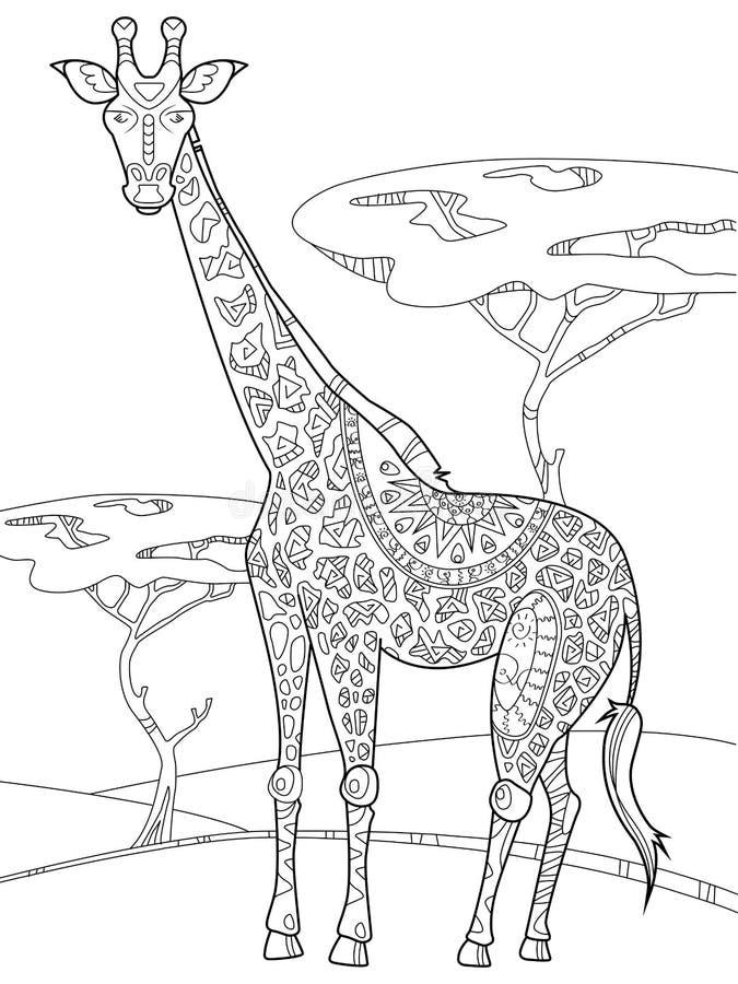 Download Livre De Coloriage De Girafe Pour Le Vecteur D'adultes Illustration de Vecteur - Illustration du illustration, couleur: 77154413